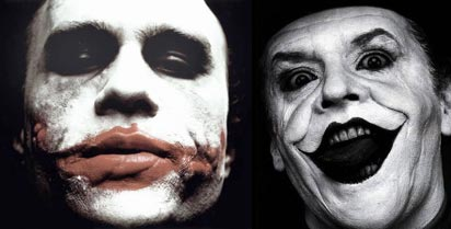 Heath Ledger and Jack Nicholson as the Joker